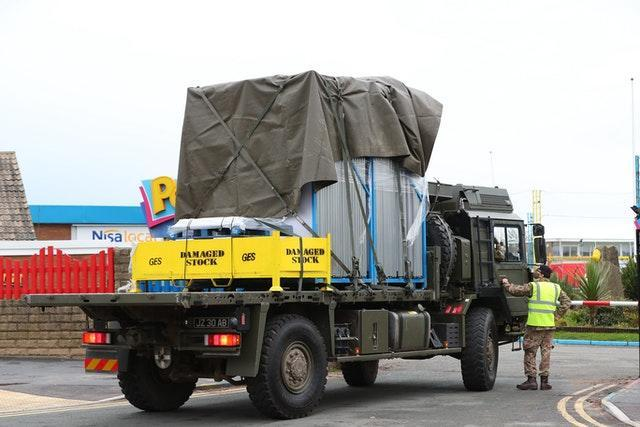 Equipment arrives at Pontin's in Southport where soldiers are staying ahead of the start of mass Covid-19 testing in Liverpool (Peter Byrne/PA)