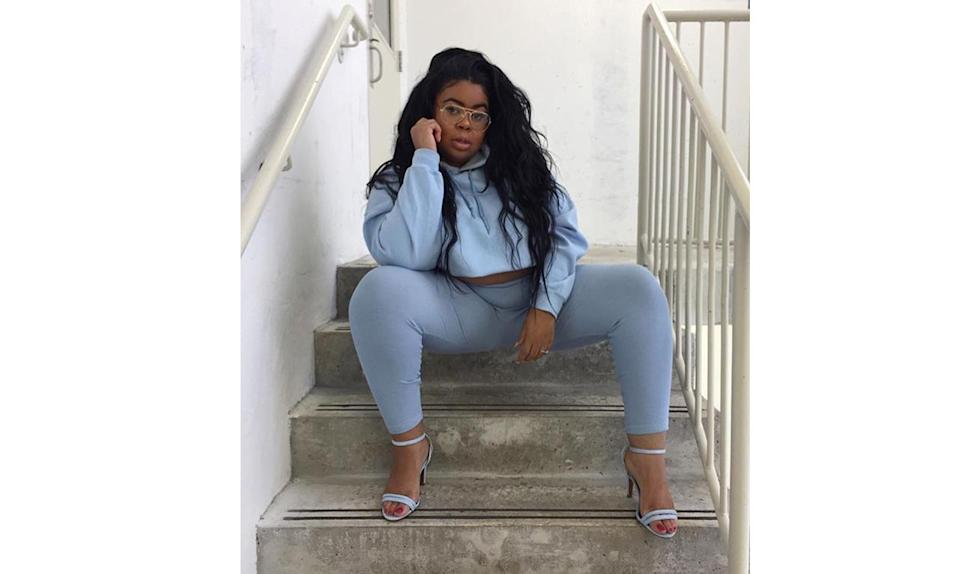 """<p>When it comes to dressing up your leisure wear, take a cue from <a href=""""https://www.instagram.com/p/BRmhps-Fyji/?taken-by=flawsofcouture"""" rel=""""nofollow noopener"""" target=""""_blank"""" data-ylk=""""slk:@flawsofcouture"""" class=""""link rapid-noclick-resp"""">@flawsofcouture</a> — make a statement by opting for a matching colored top and bottom with single-strap heels. </p>"""