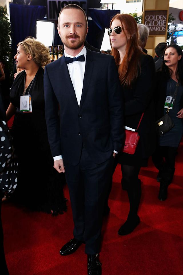 Aaron Paul arrives at the 70th Annual Golden Globe Awards at the Beverly Hilton in Beverly Hills, CA on January 13, 2013.