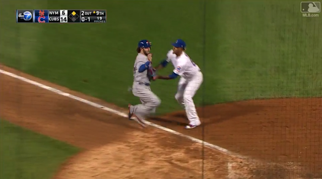 The Mets' Tomas Nido ran directly into the final out of the game. (MLB.com)