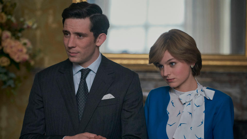 Josh O'Connor and Emma Corrin portrayed Prince Charles and Princess Diana in the most recent series 'The Crown'. (Des Willie/Netflix)