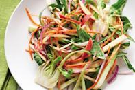 """Combine bok choy, apple, carrot, and chopped onion for the ultimate sweet, crisp, and zingy salad. Toss them in a creamy raisin and mustard dressing to add more sweet-savory deliciousness. <a href=""""https://www.epicurious.com/recipes/food/views/apple-bok-choy-salad-56389418?mbid=synd_yahoo_rss"""" rel=""""nofollow noopener"""" target=""""_blank"""" data-ylk=""""slk:See recipe."""" class=""""link rapid-noclick-resp"""">See recipe.</a>"""