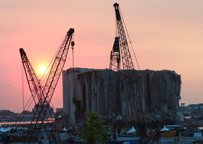 A view shows the grain silo that was damaged during last year's Beirut port blast, during sunset in Beirut