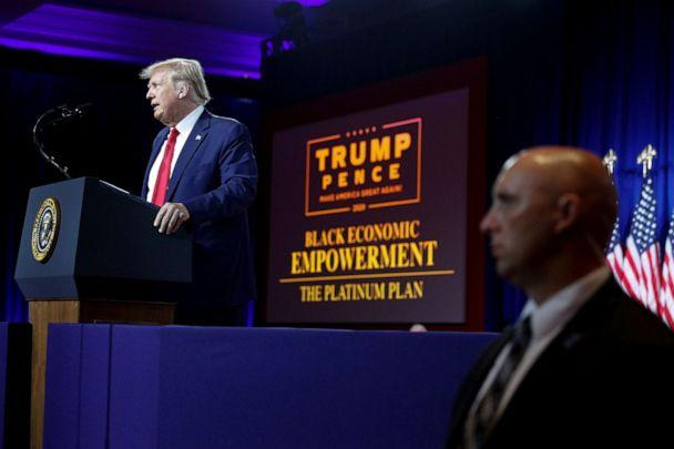 PHOTO: President Donald Trump delivers remarks on Black Economic Empowerment during an event at the Cobb Galleria Centre in Atlanta, Sept. 25, 2020. (Tom Brenner/Reuters, FILE)