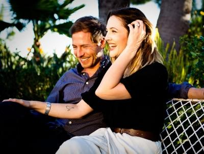 Drew Barrymore and Will Kopelman are seen in the couple's official engagement photo, January 2012  -- David Khinda