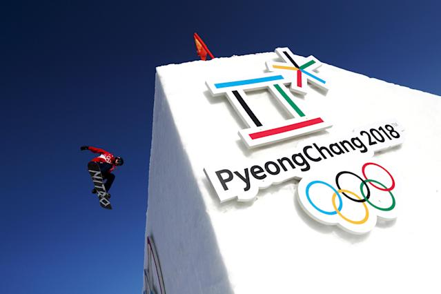 <p>Jamie Nicholls of Great Britain practices prior to the Men's Big Air Qualification on day 12 of the PyeongChang 2018 Winter Olympic Games on February 21, 2018 in PyeongChang, South Korea.<br> (Photo by Al Bello/Getty Images) </p>