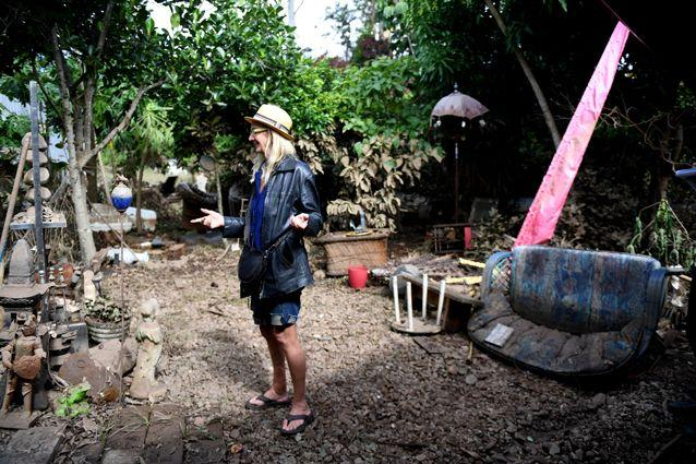 Christine Devine walks through her flood ravaged home and business the Devine Healing Sanctuary in Lismore, NSW. Source: AAP