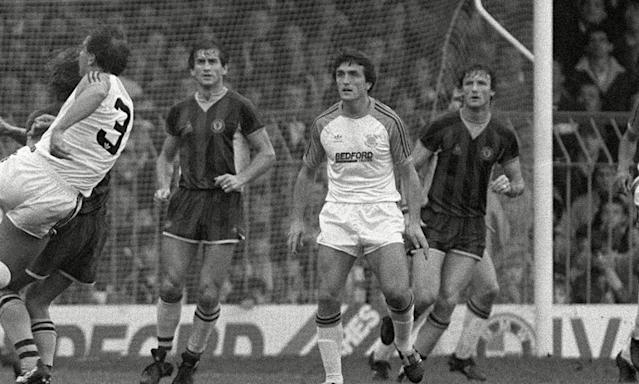 """<span class=""""element-image__caption"""">Raddy Antic (centre) playing for Luton Town against Aston Villa in the First Division in October 1983, the season after he saved them from relegation.</span> <span class=""""element-image__credit"""">Photograph: Colorsport/Shutterstock</span>"""