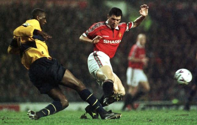 Keane, right, and Patrick Vieira had numerous run-ins (Peter Wilcock/PA)