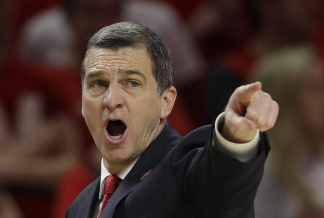 Maryland coach Mark Turgeon directs his players during the first half of an NCAA college basketball game against Purdue, Tuesday, Feb. 12, 2019, in College Park, Md. (AP Photo/Patrick Semansky)