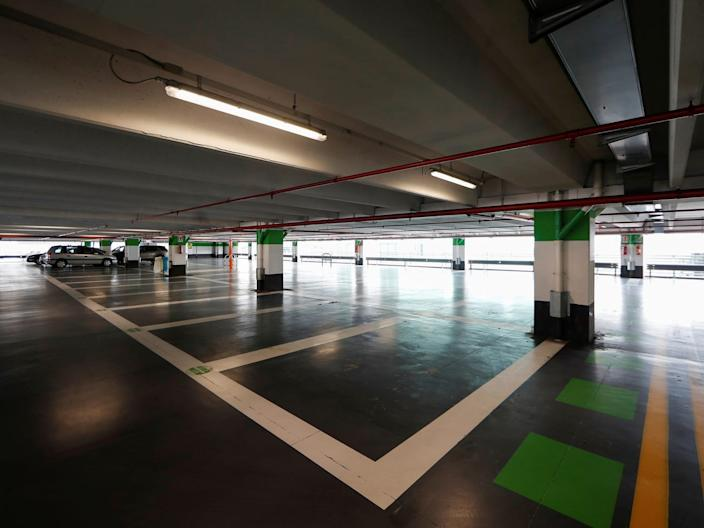 The parking lot at Rome's Fiumicino airport.