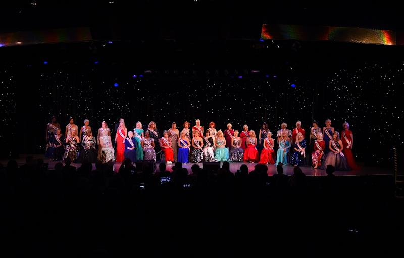 Contestants are introuduced on stage during the finals of the 38th Annual National Ms. Senior America 2017 Pageant at the Resorts Casino Hotel in Atlantic City, New Jersey, on October 19, 2017 (AFP Photo/TIMOTHY A. CLARY)