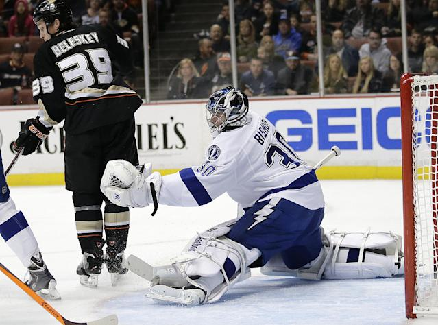 Tampa Bay Lightning's Ben Bishop stops a shot during the second period of an NHL hockey game against the Anaheim Ducks on Friday, Nov. 22, 2013, in Anaheim, Calif. (AP Photo/Jae C. Hong)