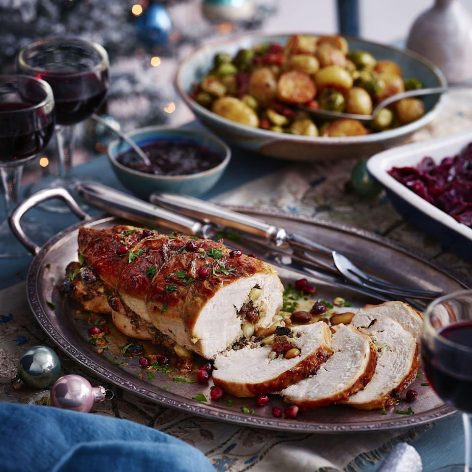 """<p>Our super simple, flavour packed stuffing is made with pork and apple sausagemeat and bread sauce for gentle nutmeg spice and to prevent it the meat juicy and moist whilst roasting.</p><p><strong>Recipe: <a href=""""https://www.goodhousekeeping.com/uk/christmas/christmas-recipes/a37771352/jewel-stuffed-turkey-breast/"""" rel=""""nofollow noopener"""" target=""""_blank"""" data-ylk=""""slk:Jewel Stuffed Turkey Breast"""" class=""""link rapid-noclick-resp"""">Jewel Stuffed Turkey Breast</a></strong></p>"""