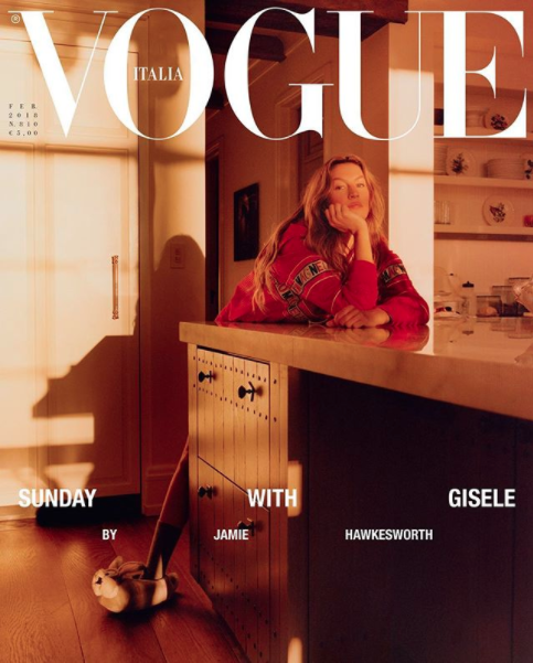 The photo spread features Gisele at home on a Sunday morning. Photo: Vogue Italia