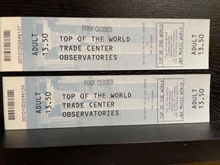Here are the two tickets to the observation deck of the World Trade Center that Bob and Kathy Kustra had purchased and intended to use on Sept. 11, 2001.