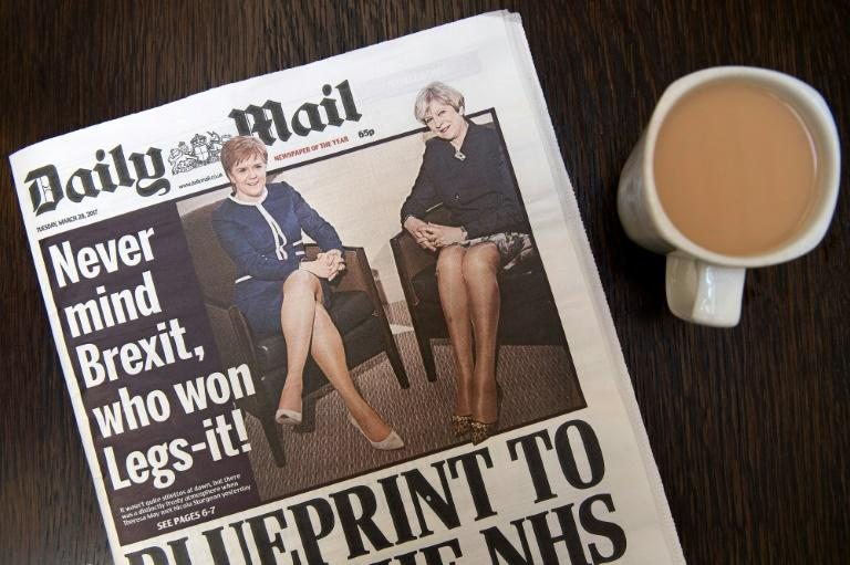The Daily Mail's coverage of talks between British Prime Minister Theresa May (right) and Scotland's First Minister Nicola Sturgeon sparked a swift backlash