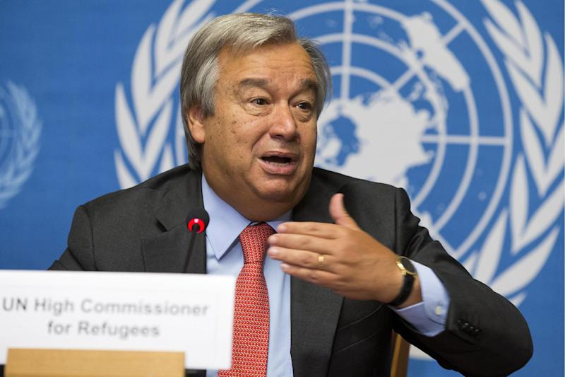 United Nations High Commissioner for Refugees, UNHCR, Portuguese Antonio Manuel de Oliveira Guterres, informs the media about the two million Syrian refugees during a press conference at the European headquarters of the United Nations in Geneva, Switzerland, Tuesday, Sept. 3, 2013. (AP Photo/Keystone,Salvatore Di Nolfi)