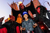 <p>playing along with the scares at Halloween Horror Nights at Universal Studios Hollywood on Sept. 11.</p>