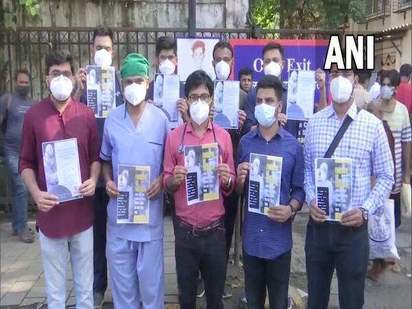 Resident doctors protest in Mumbai on Friday. (Photo/ANI)