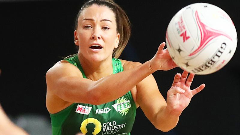 Verity Charles, pictured here in action for the West Cost Fever in Super Netball.