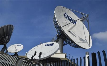 Satellite transmission dishes are seen near BBC Television Centre at White City in London February 18, 2013.