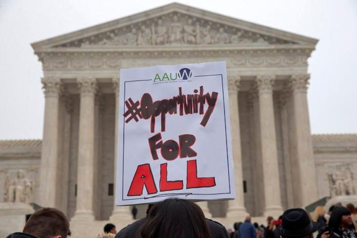 Demonstrators gathered outside the Supreme Court in June 2016 when the justices last issued a major ruling on affirmative action.