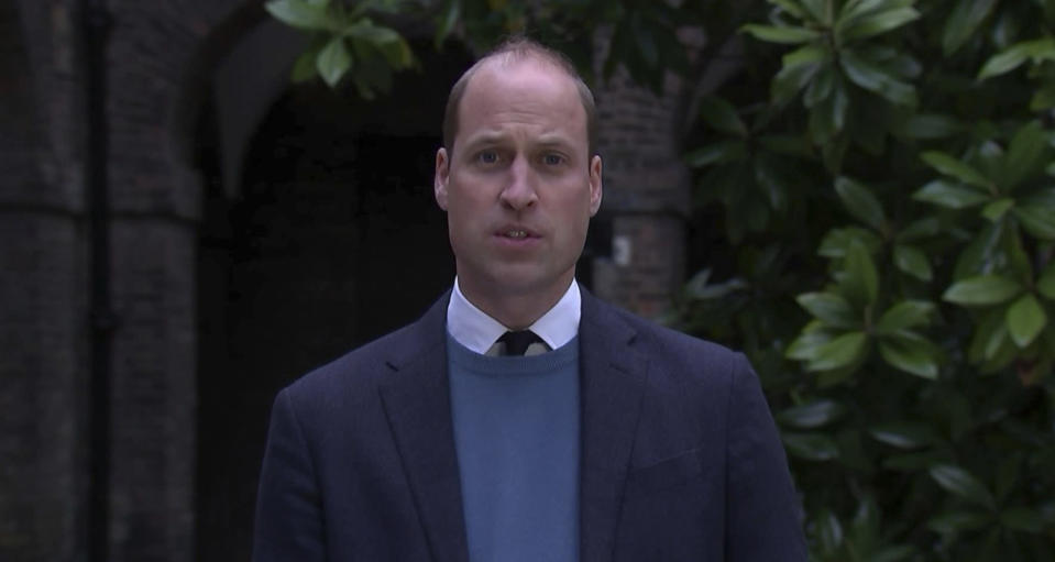 In this image made from video on Thursday, May 20, 2021 provided by ITN, Britain's Prince William makes a statement following the publication of Lord Dyson's investigation into former BBC News religion editor Martin Bashir. The BBC, seen as a respected source of news and information around the world, is facing questions about its integrity at home after a scathing report on its explosive 1995 interview with Princess Diana. Princes William and Harry, Diana's sons, late Thursday, May 20, 2021 excoriated the BBC, saying there was a direct link between the interview and their mother's death in a traffic accident two years later as she and a companion were being pursued by paparazzi. (ITN via AP)