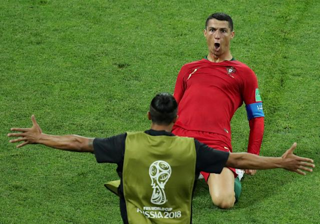 "Soccer Football - World Cup - Group B - Portugal vs Spain - Fisht Stadium, Sochi, Russia - June 15, 2018 Portugal's Cristiano Ronaldo celebrates scoring their second goal REUTERS/Lucy Nicholson TPX IMAGES OF THE DAY. SEARCH ""FIFA BEST"" FOR ALL PICTURES. TPX IMAGES OF THE DAY"