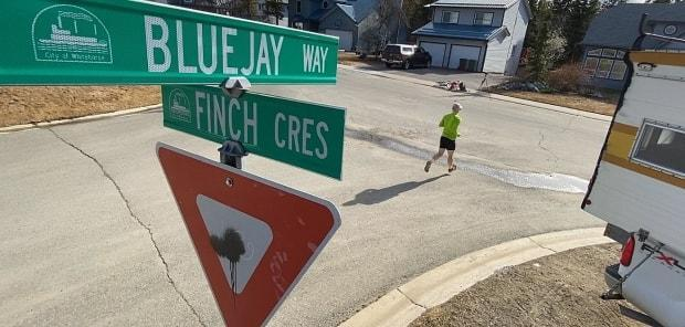 Bluejay Way, check! The project saw Phelps run on every city street. A list provided by the City of Whitehorse lists 457 street names. (Philippe Morin/CBC - image credit)