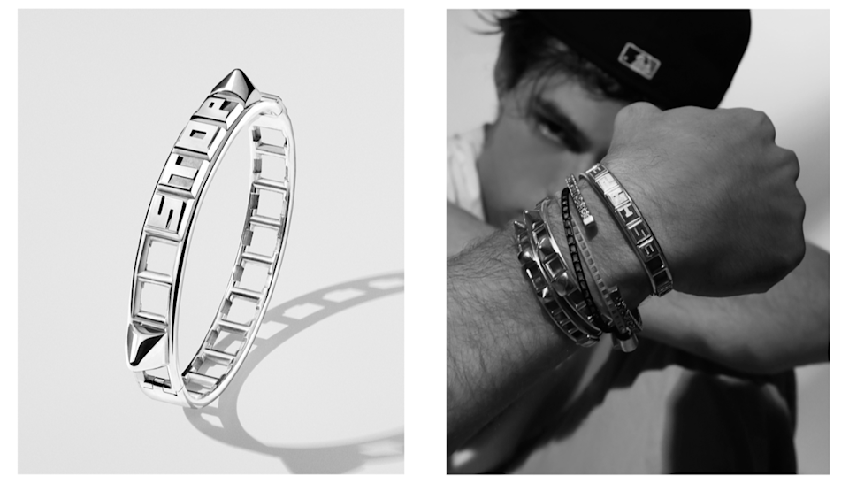 The silver bracelet can be customized with letters and studs. - Credit: Courtesy