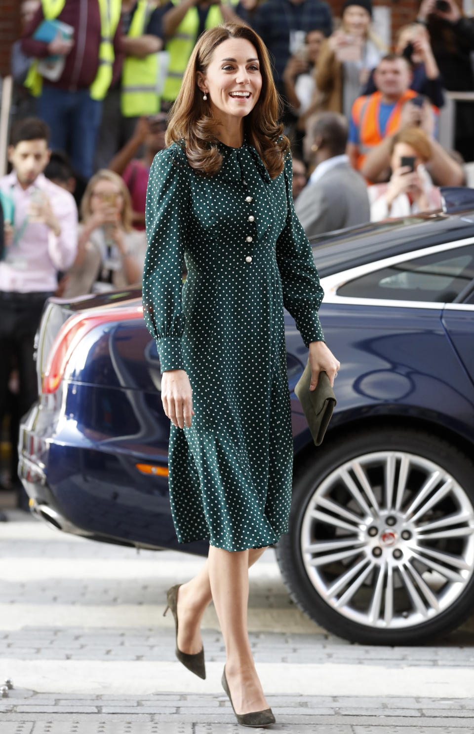 The duchess wore a polka-dot dress from L.K. Bennett. (Photo: Chris Jackson/Getty Images)