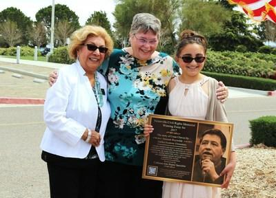 From left to right: Mayor Gloria Garcia, City of Victorville; Superintendent Jan Gonzalez, Victor Elementary School District (VESD); and Hannah Reynolds, 2017 Victorville Civil Rights Essay Contest winner.
