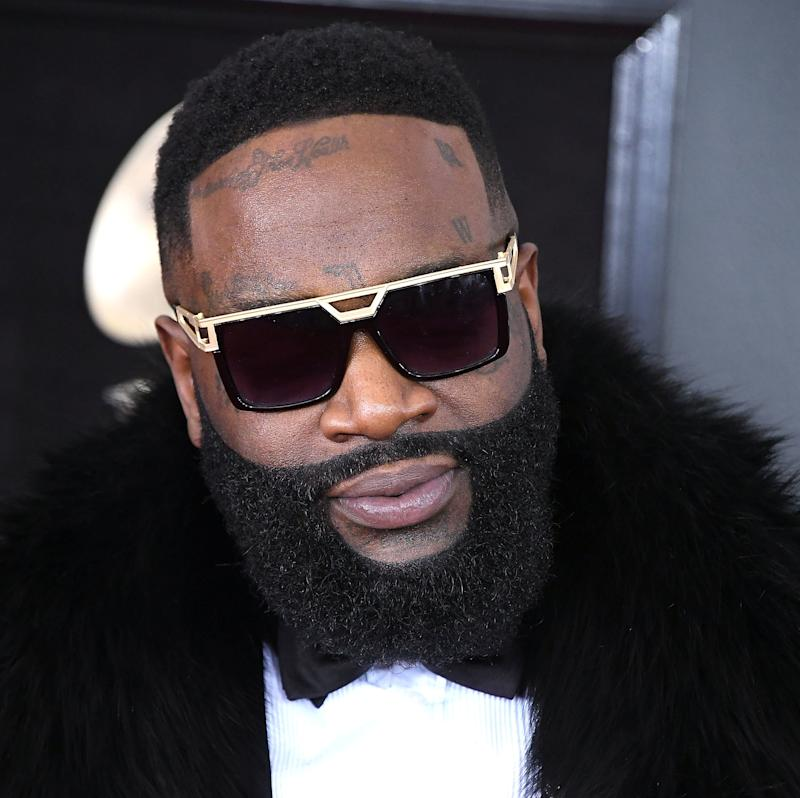 Rick Ross at the Grammy Awards on Jan. 28. He's reportedly on a heart-and-lung machine at a Florida hospital.
