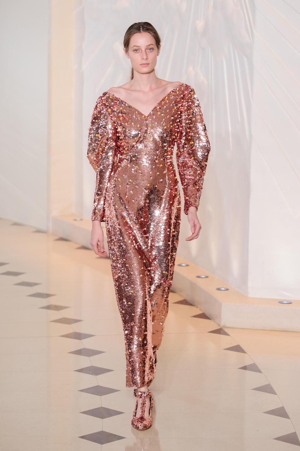 <p><i>Copper-gold sequined dress from the SS18 Emilia Wickstead collection. (Photo: IMAXtree) </i></p>