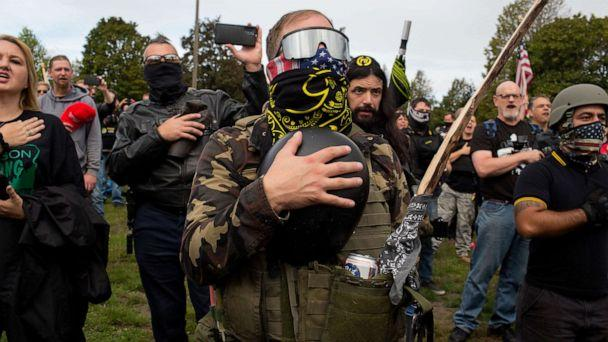 PHOTO: In this Sept. 26, 2020, file photo, members of the Proud Boys, a gang that supports President Trump, hold a rally in Delta Park on the edge of Portland, Ore. (Andrew Lichtenstein/Corbis via Getty Images, FILE)