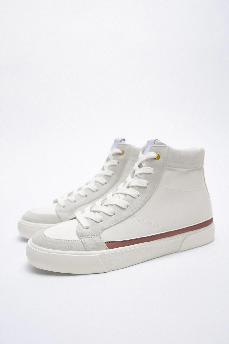 <p>For an everyday look, get these <span>Zara High Top Sneakers</span> ($50).</p>