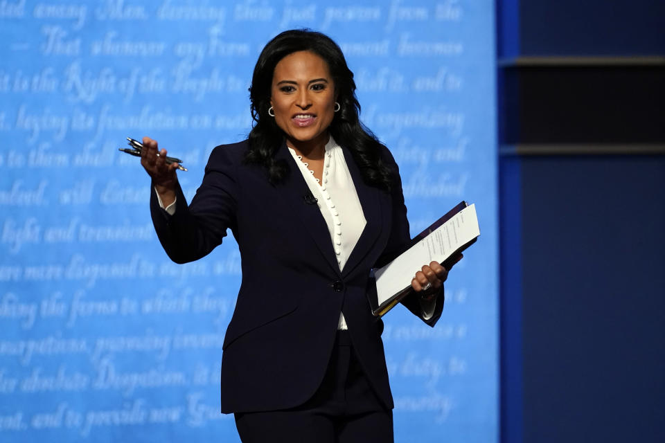 Moderator Kristen Welker of NBC News speaks before the second and final presidential debate Thursday, Oct. 22, 2020, at Belmont University in Nashville, Tenn. (AP Photo/Patrick Semansky)