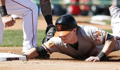 Baltimore Orioles' Nate McLouth gets back safely to first base under the tag of Boston Red Sox first baseman Mike Napoli during the first inning of a baseball game at Fenway Park in Boston Monday, April 8, 2013. (AP Photo/Winslow Townson)