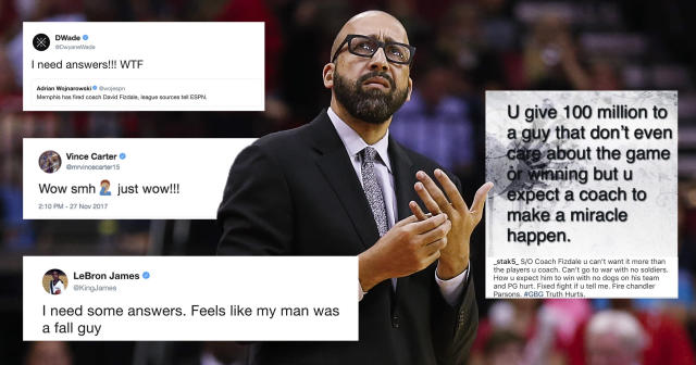 "The <a class=""link rapid-noclick-resp"" href=""/nba/teams/mem/"" data-ylk=""slk:Memphis Grizzlies"">Memphis Grizzlies</a>' decision to fire David Fizdale sent NBA social media aflame."