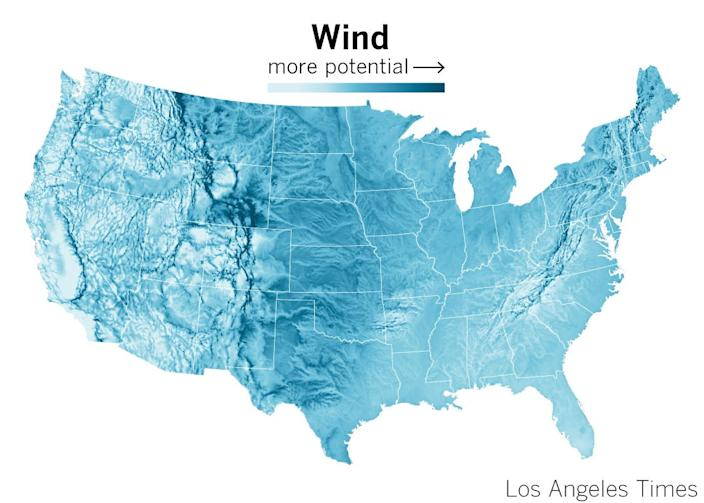 Wind potential in the United States, according to the National Renewable Energy Laboratory.