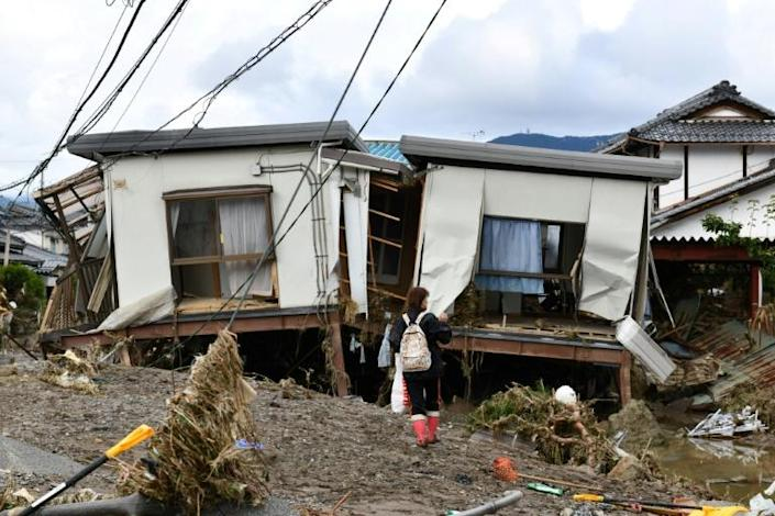 """Japan's Prime Minister Shinzo Abe spoke of concerns that """"the impact on daily life and economic activities"""" may be long-lasting after the typhoon (AFP Photo/Kazuhiro NOGI)"""