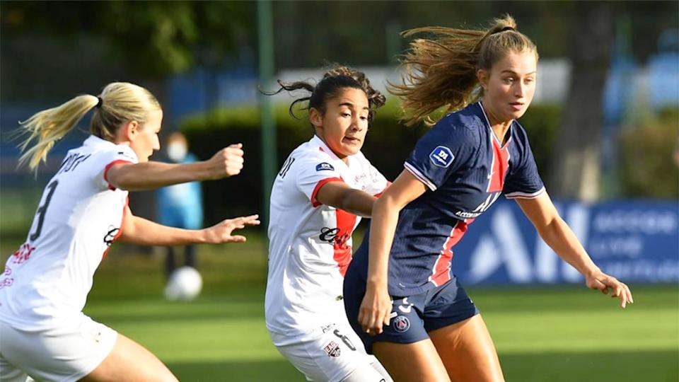 Pictured here, Jordyn Huitema in action for her French club, PSG.