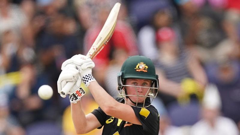 Beth Mooney top scored with an unbeaten 67 as Australia set India 156 to win a T20 tri-series