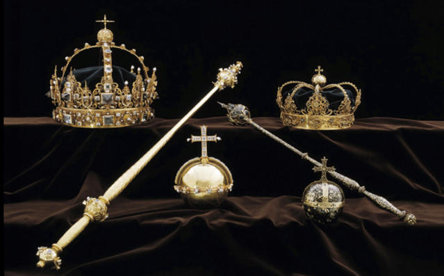 Swedish police say thieves took these two crowns and one of the orbs. (Photo: Swedish Police via AP)