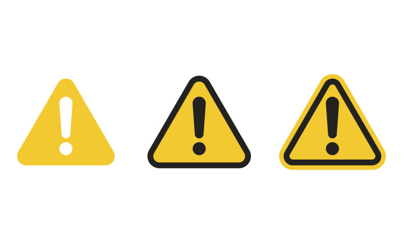 Three yellow triangular signs with black exclamation points