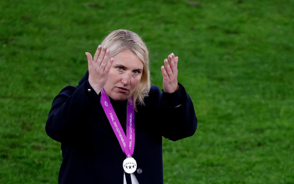 Emma Hayes, Manager of Chelsea reacts after defeat in the UEFA Women's Champions League Final match between Chelsea FC - Getty Images