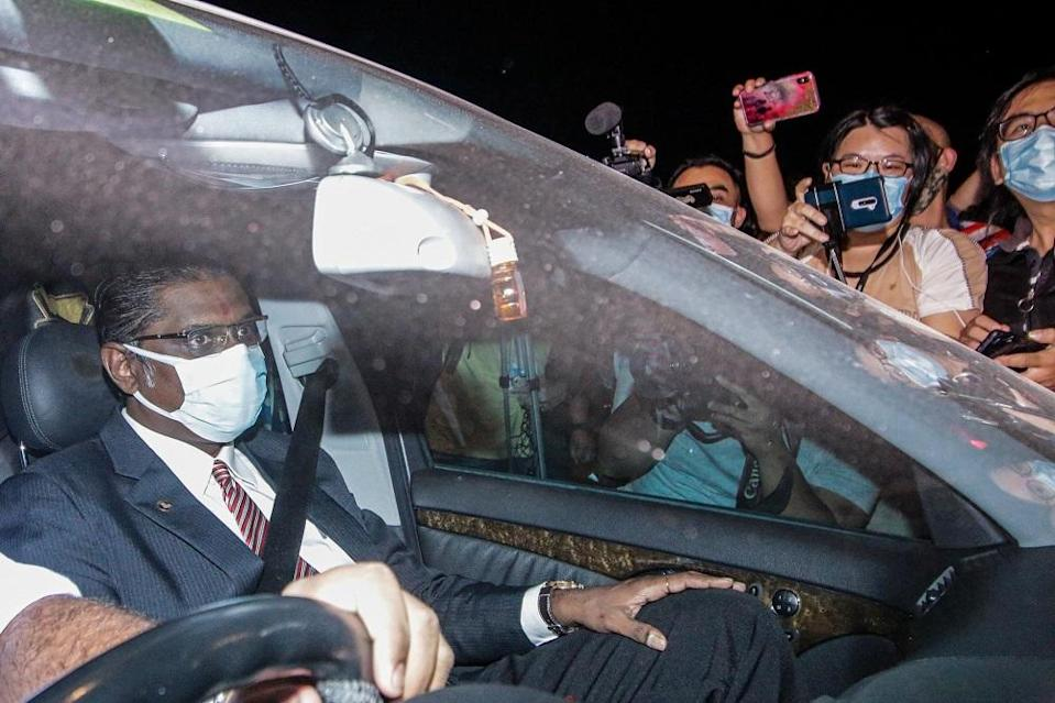 Lawyer RSN Rayer is seen leaving the Malaysian Anti-Corruption Commission in Putrajaya August 6, 2020. ― Picture by Hari Anggara