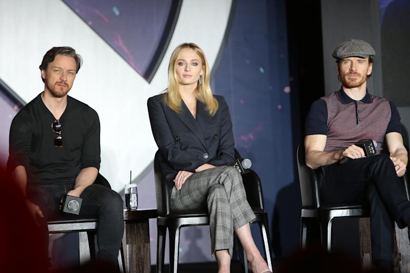 BEIJING, CHINA - MAY 29: (L-R) James McAvoy, Sophie Turner and Michael Fassbender attend a press conference of 'X-Men: Dark Phoenix' on May 29, 2019 in Beijing, China. (Photo by VCG/VCG via Getty Images)