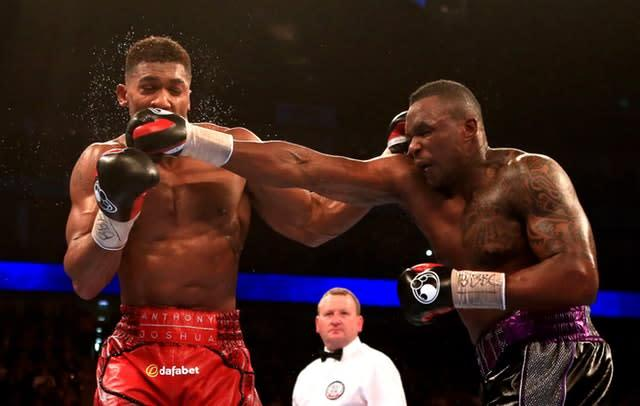 Joshua, left, recovered to beat Dillian Whyte (Nick Potts/PA Archive)